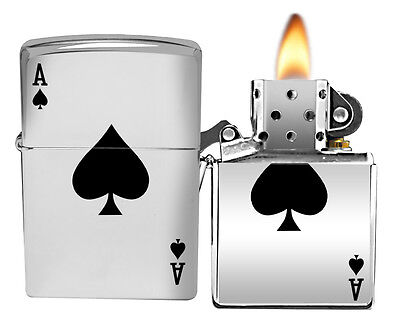 Zippo Lighter 24011 High Polish Chrome Lucky Ace Classic NEW