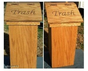 Wood trash can ebay - Wooden kitchen trash can with lid ...