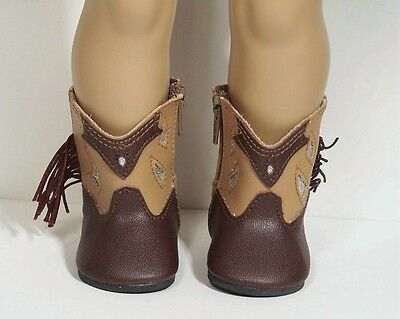 2 Tone BROWN Cowboy Cowgirl Boots Doll Shoes For 18