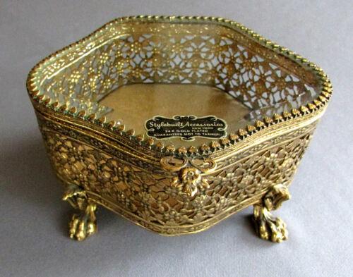 Vintage STYLEBUILT ACCESSORIES 24K Gold Plated DRESSER BOX Beveled Glass Top