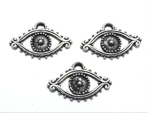 Set of Three (3) Pewter Evil Eye Charms -5521