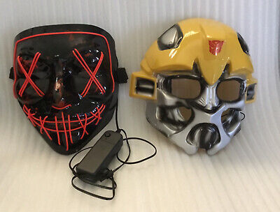 Halloween Light Up Battery Operated Creepy Costume Mask/Yellow Silver Mask