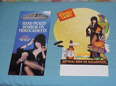original ELVIRA COORS LIGHT beer Halloween table tent & video store brochure