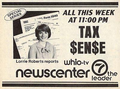 1983 Tv Ad Lorrie Roberts Tax Sense News Reporter Whio Dayton Ohio