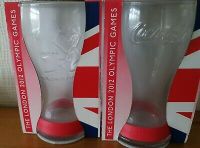 2 McDonalds London 2012 Olympic Games Commemorative Glasses Boxed Coke Coca Cola