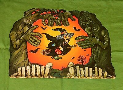 vintage Hallmark Halloween WITCH WITH SPOOKY TREES decoration cutout placemat