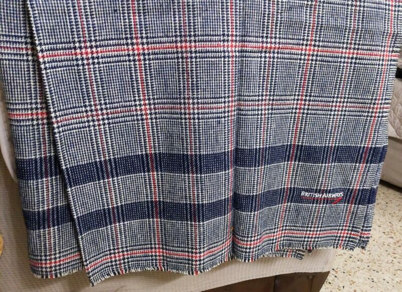 New  Vintage BRITISH AIRWAYS Plaid Blanket RED BLACK WHITE 50x72""