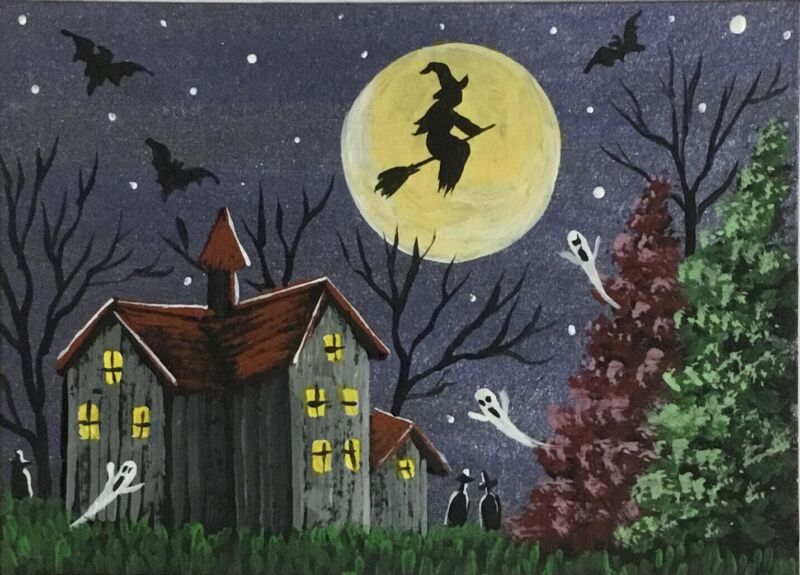 ACEO Original Halloween Acrylic Sketch Card Witch
