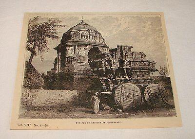1879 magazine engraving ~ CAR OF KRISHNA AT JUGGERNAUT, India