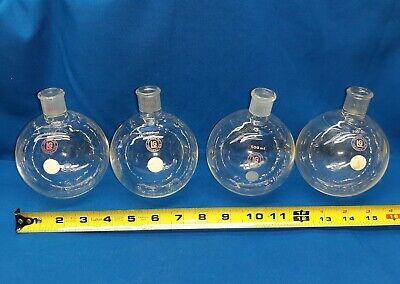 Lot Of 4 500 Ml Lab Glass Boiling Flask Vintage Lab Equipment Bunsen Burner