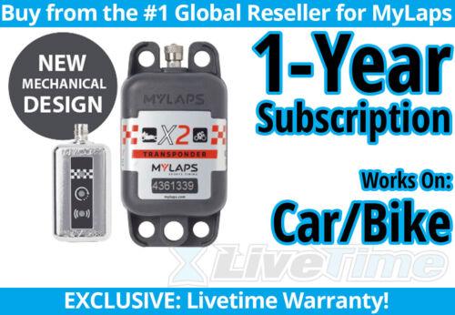 MyLaps X2 Car/Bike Rechargeable Transponder w/ 1-year Subscription -AMB Flex 260