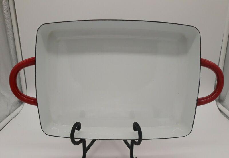"Vintage Dansk Designs IHQ Red Enamel Kobenstyle 7.75""x 10.5"" Baking Pan France"