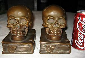 Premium antique medical human skull bookends armor bronze desk art statue - Armor bronze bookends ...