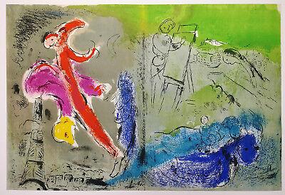 "1952 MARC CHAGALL ORIGINAL Color Lithograph ""Vision of Paris"" M81 Framed COA"
