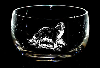 BERNESE MOUNTAIN DOG *DOG GIFT* 12.5cm Boxed CRYSTAL GLASS SWEET BOWL