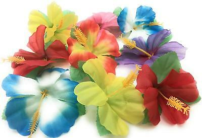 Silk Hibiscus Flowers (Artificial Hibiscus Silk Flowers Assorted Colors Tropical Luau Table)