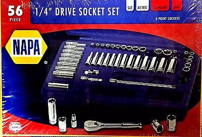 Napa 56 Pc  1 4  Dr Socket Set   Plus Ratchet   Sae   Metric