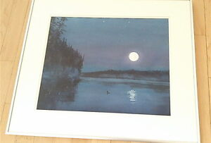 """Original water color  by Roger Belley """"Moon and Loon on lake"""""""