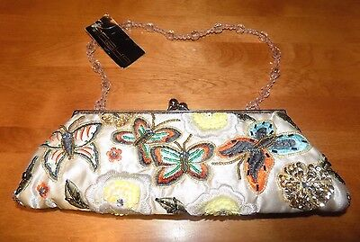Beaded Handbags Purses Designer Purse - SASHA HANDBAGS Beaded Handbag Purse Butterfly Design Evening Bag NEW WITH TAGS