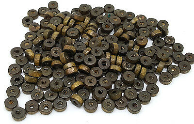 200 x Flat Round Brown Wooden Spacer Beads 6x3mm