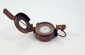 World War 2 Bronze Military / Ships Nautical Bronze Pocket Compass - Working
