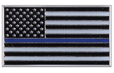 """Thin Blue Line USA Flag Police Support Lapel Pin - Rothco .75"""" Brass Chest Pins"""