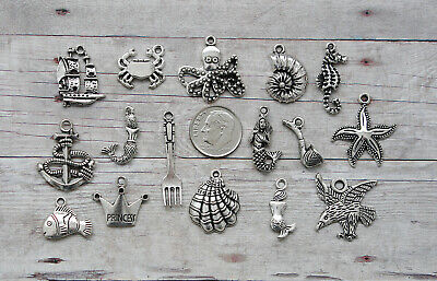 16pc or 5pc Little Mermaid Charm Set Lot Collection/ Ariel, Shell,Fish,Crab,Ship