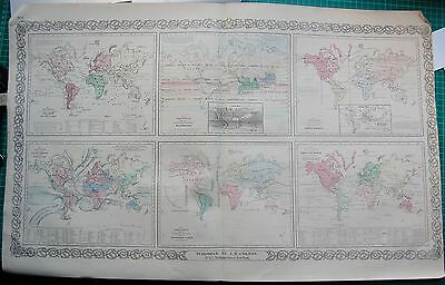 1855 LARGE ANTIQUE MAP-COLTON- WORLD,LAND,CURRENTS,METEREOLOGY,INDUSTRY,ANIMALS