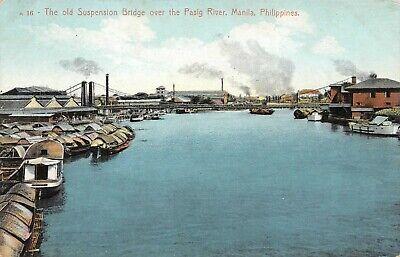Old Suspension Bridge over Pasig River Manila Philippines Vintage Postcard B12