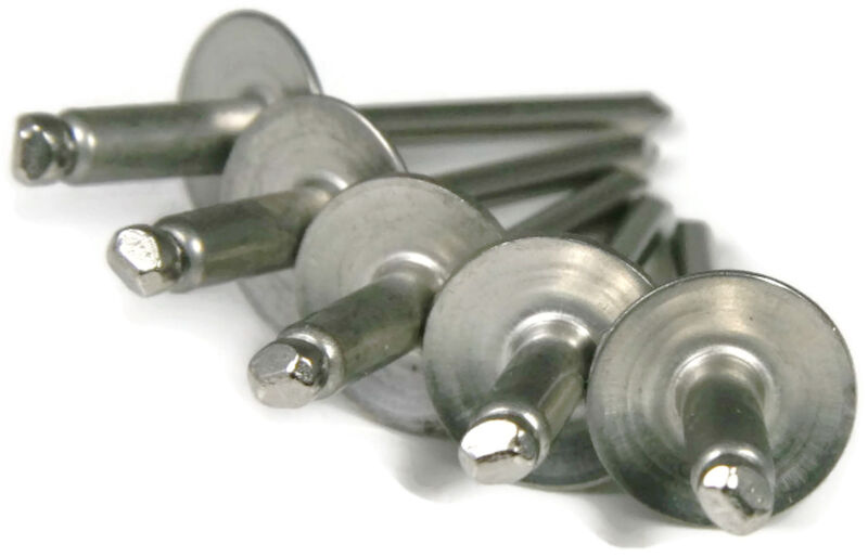 POP Rivet ALL Stainless Steel Large Flange 68LF, 3/16 x 1/2, USA, QTY 50