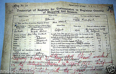 TITANIC Registry Transcript Insurance Report Document Ship Liverpool London Boat