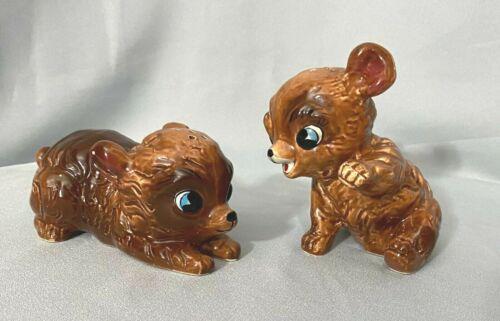 HTF Vintage  KREISS Japan Large Bear Cub Salt & Pepper Shakers Anthropomorphic