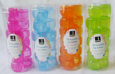 NEW 18 COLOURFUL REUSABLE SQUARE ICE CUBES GREEN PINK BLUE or ORANGE - Orange Ice Cubes