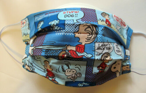 Rare Snoopy Comic Strip Face Mask w/Filter Pocket Washable Reusable Cotton