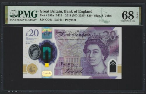 GREAT BRITAIN England 20 Pounds 2018 (2020) PMG 68 EPQ Gem UNC P-396a B416 NEW