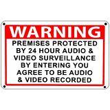 Warning Premises under 24 Hr Audio Video Surveillance home security cctv Signs