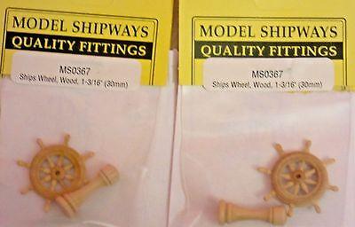 "Model Ship Boat Accessories Fittings Wheel Wood 30mm (1-3/16"") 2 Packs"