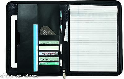 Travis Wells Executive Zippered Black Leather Ipadtablets Padfolio - New