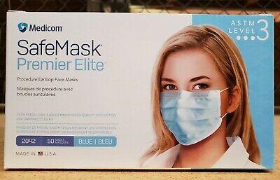 Medicom Safemask Premier Elite Astm Level 3 Mask - Color Blue 50 Per Box