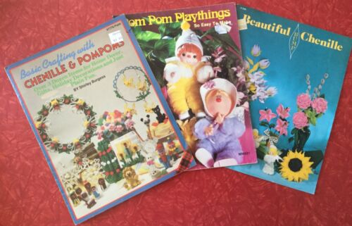 Vintage 70s 80s Lot of 3 Chenille & Pom Poms Craft Books~Dolls Animals Flowers
