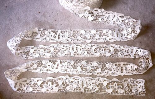 """2o yds x2.1/2""""Antique Hand Made Needle Lace Early 20thC-MIN.3 YARD PURCHASE 1041"""