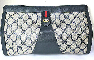 Vintage GUCCI GG Web Signature Velcro Large Clutch Hand Bag