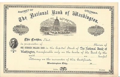 THE NATIONAL BANK OF WASHINGTON.....UNISSUED COMMON STOCK CERTIFICATE