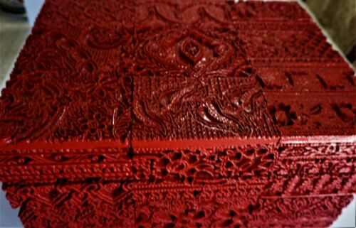 LARGE CHINESE FLORAL CARVED CINNABAR LACQUER CLOISONNE ENAMEL TRUNK BOX