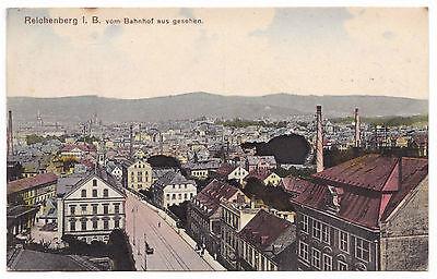 AK Gruss aus Reichenberg Böhmen Bahnhof Strassenbahn Strasse Panorama Liberec
