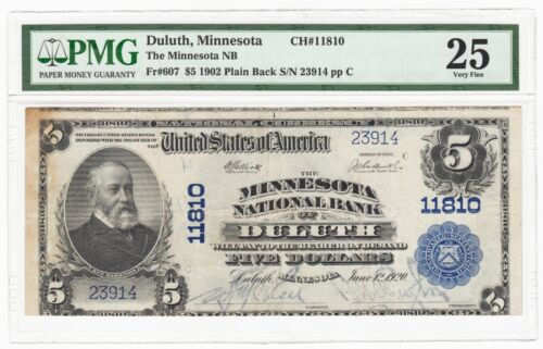 1902 Minnesota NB of Duluth $5 National Banknote Fr.607 Ch# 11810 - PMG VF 25