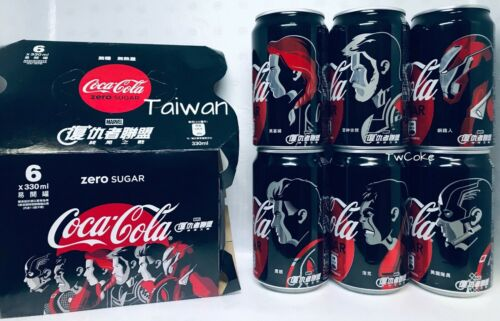 Taiwan 2019 MARVEL Avengers Alliance set of 6 coca coke cola cans