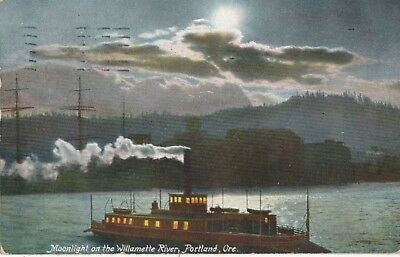 1907 Moonlight on Willamette River, Portland, OR Hand Colored Steam Boat Postcar