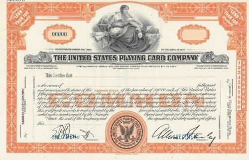 THE UNITED STATES PLAYING CARD COMPANY SPECIMEN STOCK CERTIFICATE EARLY SCARCE