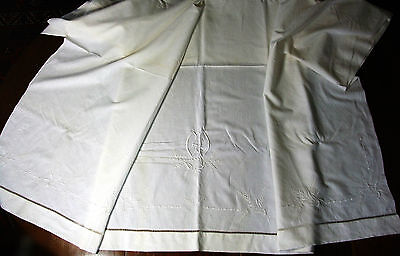 Sheet embroidered the Spikes wheat Canvas linen 2m08 Monogram GD - linen old